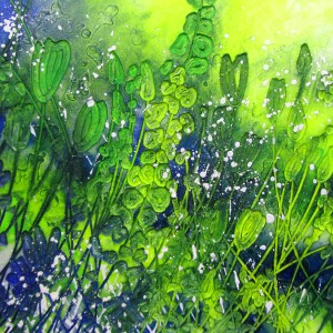 GREEN SPRAY 860mm x 860mm £895 Framed without glass in oak